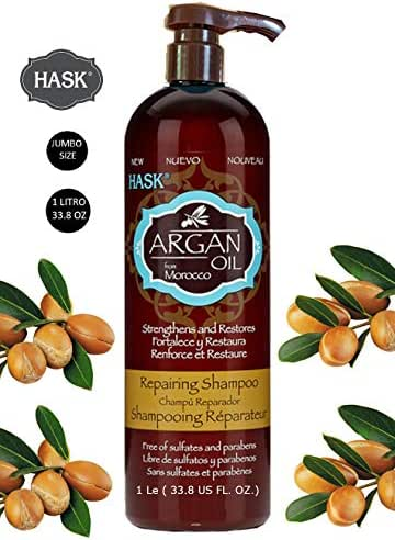 HASK SHAMPOO ARGAN OIL FROM MOROCCO STRENGTHENS AND RESTORES FREE OF SULFATES AND PARABENS 33.8 FL OZ (1 L)/ HASK SHAMPOO DE ACEITE DE ARGAN DE MOROCCO LIBRE DE SULFATO Y PARABENOS