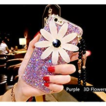 3D Flowers Phone Case Glitter Soft Shell With Lanyard For Iphone7/7Plus/6/6Plus (IPhone6 Plus Purple)