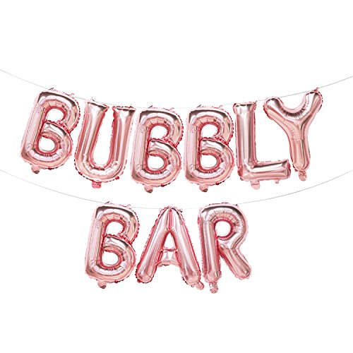 (Bubbly Bar Letter Balloons Rose Gold | Bubbly Bar Banner Rose Gold | Bubbly Bar Sign for Table | Bubbly Bar Decorations for Bridal Shower, Wedding, Engagement, Bachelorette Party | 16inch)