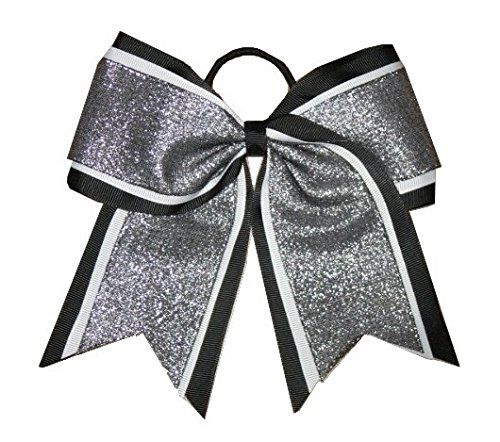 "Price comparison product image NEW ""SHIMMER Black"" Cheer Bow Pony Tail 3"" Ribbon Girls Hair Bows Cheerleading Dance Practice Football Games Uniform Competition Birthday"