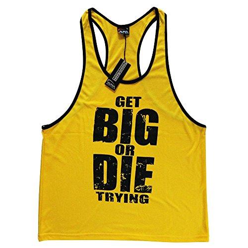Get Big Men's Fitness Bodybuilding Tank Tops Stringer, workout tans for mens (X-Large, Yellow) (Npc Tank Top)