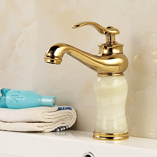 Furesnts Modern home kitchen and Bathroom Sink Taps Continental antique Golden Jade all bronze Basin hot cold running water Basin sink retro fittings on table Bathroom Sink Taps,(Standard G 1/2 universal hose ports)