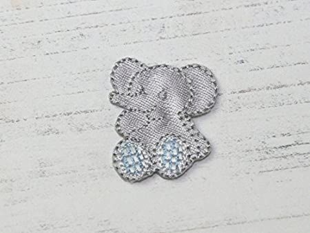 Baby elephant embroidered iron on motif applique silver grey