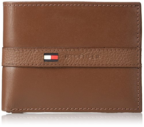 Tommy Hilfiger Men's Leather Wallet - Thin Sleek Casual Bifold with 6 Credit Card Pockets and Removable ID Window, Light - Tan Shopper