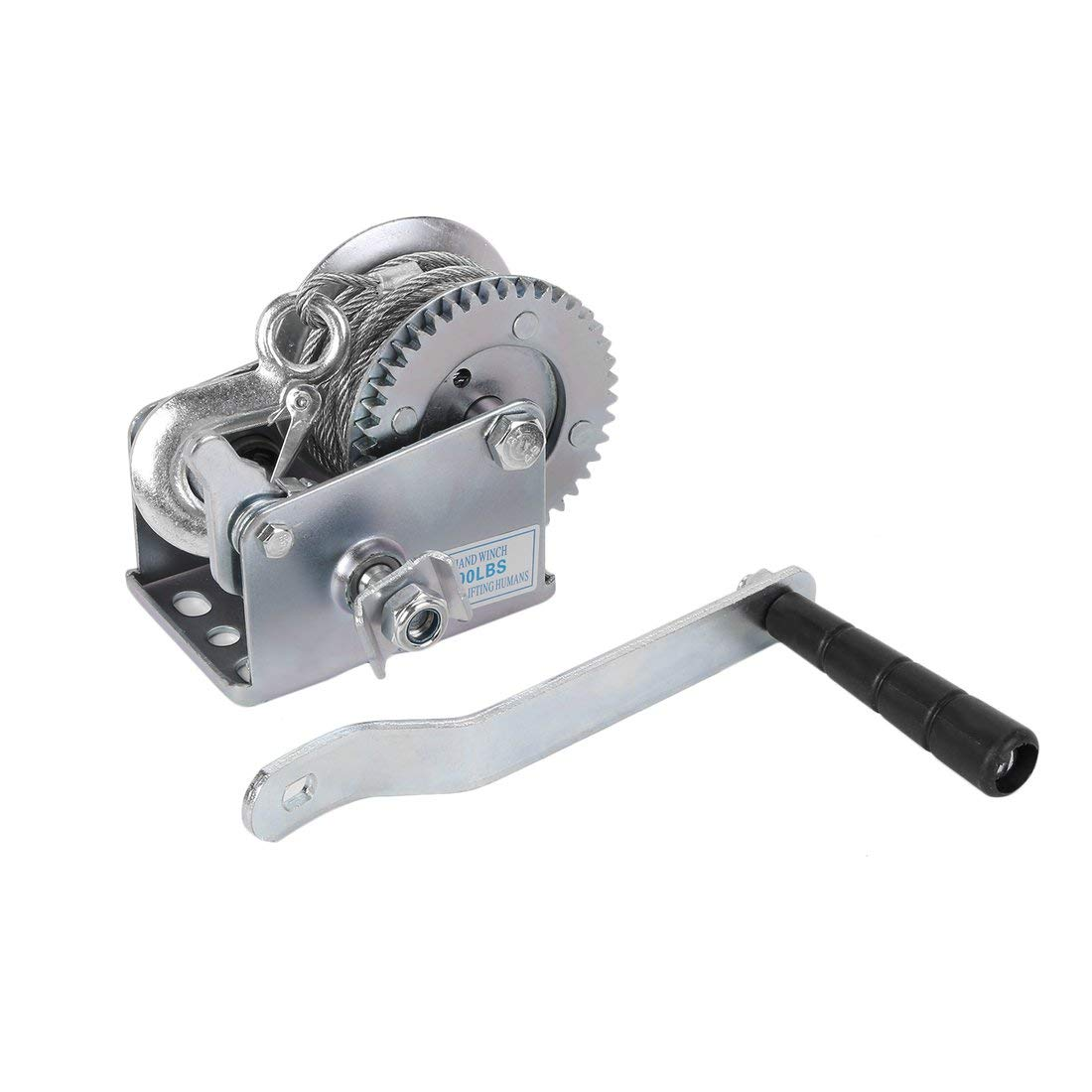 Durable Steel Wire Cable 600 Lbs Load Boat Trailer Manual Operated Hand Winch - Silver Formulaone