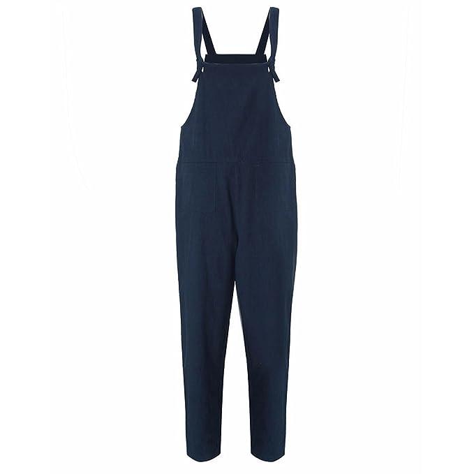 409fb1d99bf SODIAL Mono de Trabajo Mameluco Mono Pantalon de Bolsillos Informal de  Verano de Mujer Azul Oscuro 5XL: Amazon.es: Ropa y accesorios