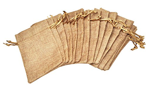 Mandala Crafts 20 Plain Jute Drawstring Burlap Gift Bags Pouches for Soap Coffee Wedding Party Favor (Elegant Cream, 3.5 X 4.75 Inches) by Mandala Crafts