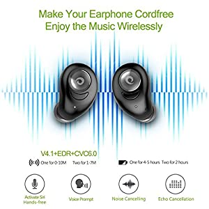 Wireless Bluetooth Earbuds with Charging Dock, Hobest Wireless Headphones with Microphone, Lightweight Noise-Canceling Bluetooth Earphones Water-Resistant for Sports & Exercise--Mono/Stereo Mode