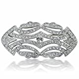 Bling Jewelry Large Crystal Fashion Art Deco Vintage Style Gatsby Inspired Scarf Brooch Pin for Women Silver Plated Brass