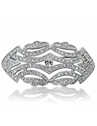 Art Deco Vintage Crystal Gatsby Inspired Wedding Brooch Pin Rhodium Plated