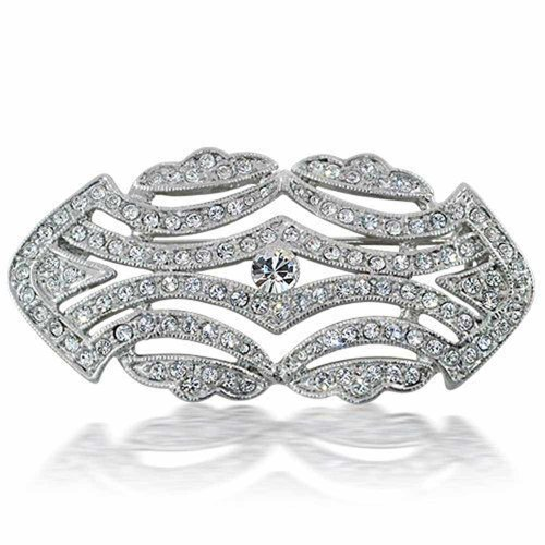Bling Jewelry Art Deco Vintage Style Colorless Crystal Gatsby Inspired Wedding Brooch Pin Rhodium Plated Brass 2 Inch
