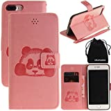 DRUnKQUEEn iPhone 7 Plus Case, 3D Creative Cartoon Panda Cover Soft Leather Case with Hand Strap for iPhone 7Plus (5.5') - Pink
