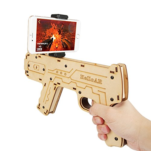 Diy Video Game Costumes (LeaningTech AR Augmented Reality Gun Game Controller, DIY Bluetooth AR Toy Gun with Smart Phone Stand Holder for iOS Android)
