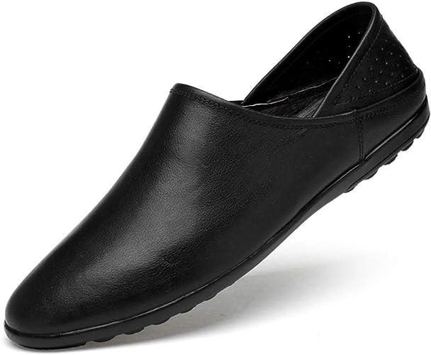 Black Loafers Men Soft Driving Slip