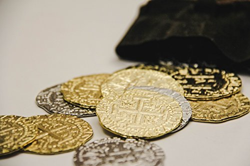 C.O.V.E. Pirate Treasure Coins - Group of 12 Gold and Silver Doubloon Replicas -