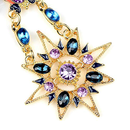 Ravewan Shop Elegant Crystal Rhinestone Sun and Moon Drop Long Ear Stud Earrings Women Gift