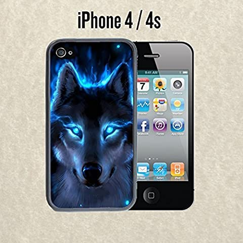 iPhone Case The Blue Wolf for iPhone 4 / 4s Rubber Black (Ships from CA) (Iphone 4 Case Artsy)