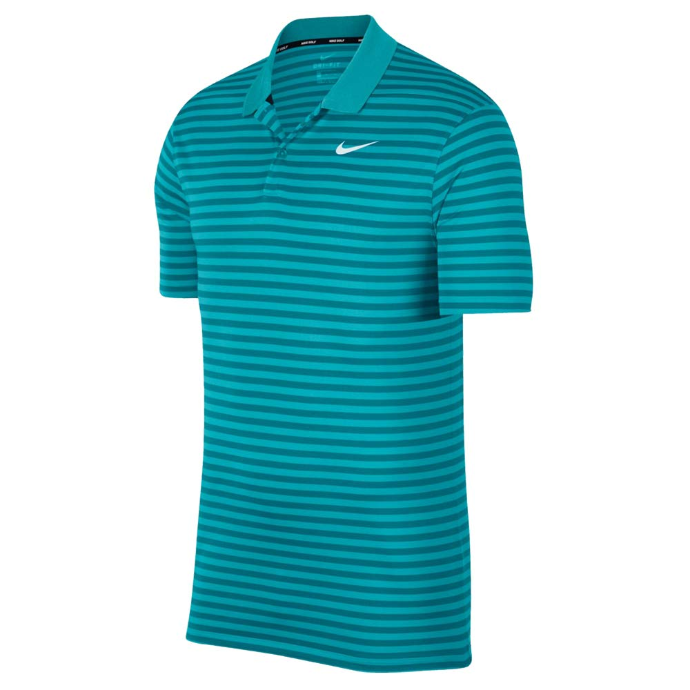 Nike Dri Fit Victory Stripe Golf Polo 2019 Cabana/Spirit Teal/White Small