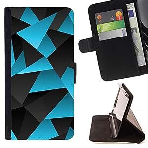 BullDog Case - FOR/HTC One M7 / - / polygon blue grey lines pattern carbon /- Monedero de cuero de la PU Llevar cubierta de la caja con el ID Credit Card Slots Flip funda de cuer