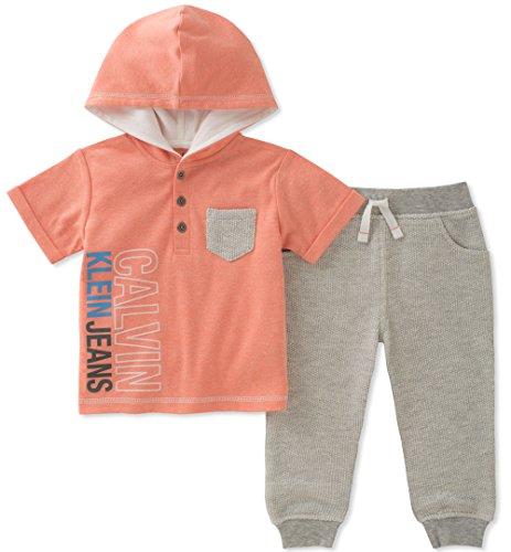 (Calvin Klein Baby Boys 2 Pieces Hooded Pant Set, Orange/Gray, 3-6)
