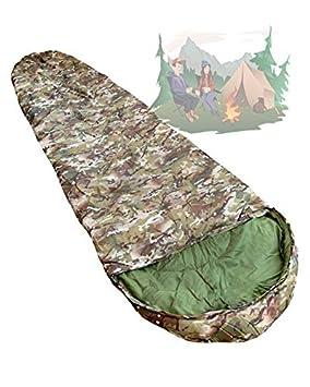 KINGTOP Saco de Dormir de Capucha diseño Militar Camuflaje Woodland Campamento Acampada: Amazon.es: Deportes y aire libre