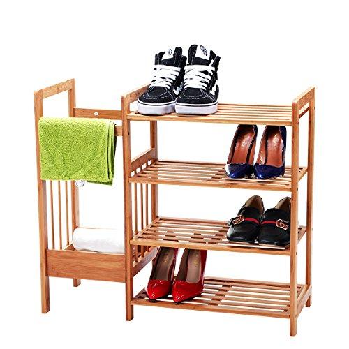 New Ridge Home Goods SHO-02222 NewRidge Home Natural Bamboo 4-Tier Shoe Rack, Shelf Storage Organizer with Umbrella Stand,