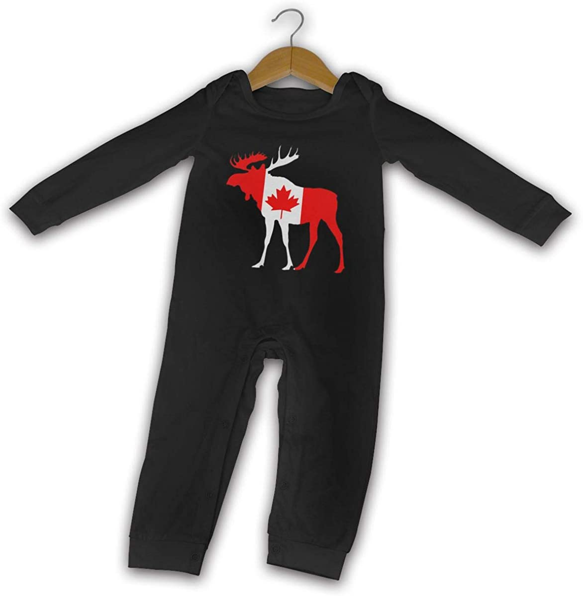 YELTY6F Canada Flag Moose Printed Newborn Baby Jumpsuit Long Sleeve Rompers Black