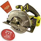 Ryobi P508 18-Volt One+ 7-1/4 in. Brushless Circular Saw Bundle with Diablo 40-Tooth Finish Saw Blade and The Art of Woodworking Book (Bare Tool)