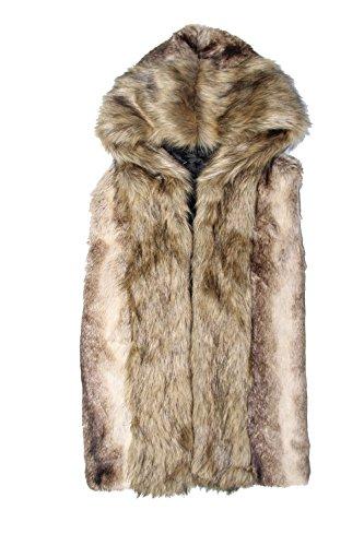 - Idopy Men`s Luxury Faux Fur Hoodie Coats Sleeveless Jacket Vest with Hood (US M Plus(tag 2XL), Grey)