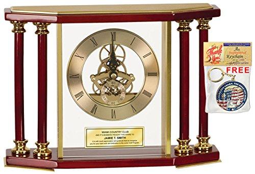 Engraved Executive Desk Clock Gold Four Column Da Vinci Wood Table Clock Encased in Glass Engraved Plate Unique Retirement Employee Award Coworker Promotion Graduation -