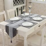 Hangnuo Set of 4 Wedding Elegant Sequined Rhinestone Contrated Classic Placemat Table Mats and 1 Runner, Silver Grey
