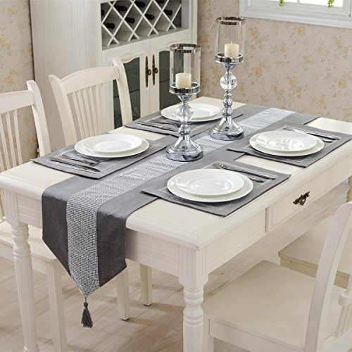 Hangnuo 1383inch Table Runner and 4 Set Placemats with Sequined Rhinestone, Elegant Table Decoration for Wedding Thanksgiving Christmas, Silver Gray
