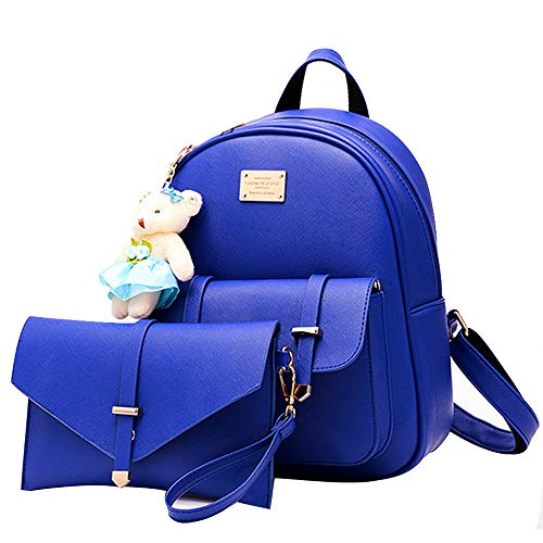 Women Backpack Purse Set for Girls School Bag Quilted Casual Small Purse Leather Crossbody Phone Bag Wristlet wallet,2PCS Blue