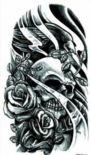 Grashine Enfin Tatuajes Temporaires En Blanco Y Negro Calavera Con