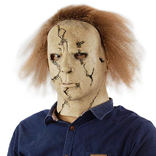 Scary Killer Michael Myers Mask Horror Movie Halloween Cosplay Adult Latex Party Mask Full Head Mask (Adults Size, Brown)