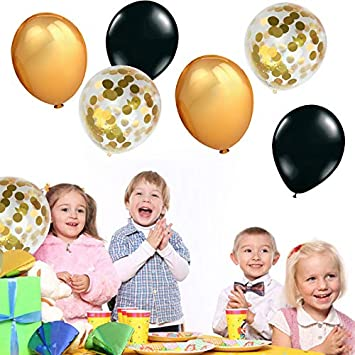 MAKFORT 58 Pcs Balloons Set Black Gold Balloon and Gold Confetti Balloons with Ribbon for Gold Black Theme Party Decor Rock Party Birthday Party Decorations