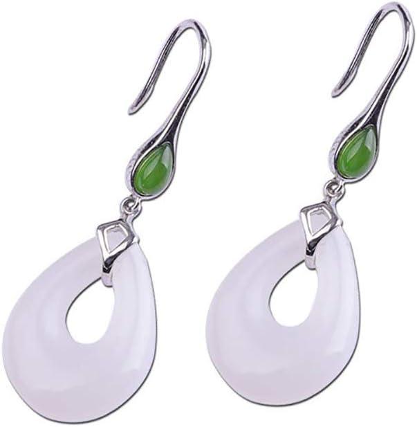 Моника Pendientes de Mujer - S925 Joyas de Plata esterlina Pendientes Moda Señora Hecha a Mano Gotas de Agua Hetian Jade Pendientes