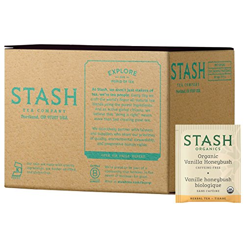 Stash Tea Organic Vanilla Honeybush Herbal Tea 100 Count Tea Bags in Foil (Packaging May Vary) Individual Herbal Tea Bags for Use in Teapots Mugs or Cups, Brew Hot Tea or Iced Tea -