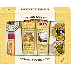 Burt's Bees Tips and Toes Kit Gift Set, 6 Travel Size Products in Gift Box – 2 Hand Creams, Foot Cream, Cuticle Cream…