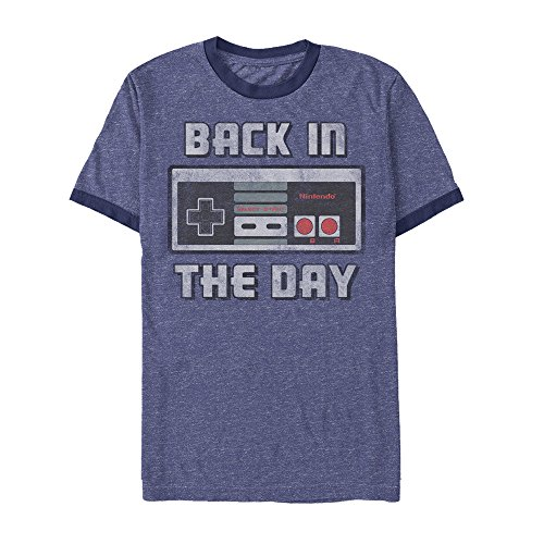 (Nintendo Men's Back in Day NES Controller Heather Royal Blue/Navy Ringer T-Shirt)