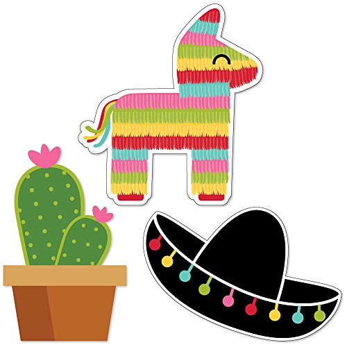 Let's Fiesta - DIY Shaped Mexican Fiesta Party Cut-Outs - 24 Count (Donkey With Sombrero)