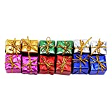 UINKE Assorted Colors Miniature Gift Boxes Shiny Foil Colorful Square Small Boxes for Christmas Tree Decorations, Set of 12