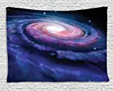 Ambesonne Galaxy Tapestry, Nebula in Outer Space Spiral Stardust Mist Cloud of Dust Planetarium Astronomy Art, Wide Wall Hanging for Bedroom Living Room Dorm, 60' X 40', Mauve Blue