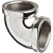 "Merit Brass Chrome Plated Brass Pipe Fitting, 90 Degree Elbow, 1/2"" NPT Female"