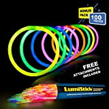 Lumistick 8 Inch Glow Sticks - Bendable Glowstick Necklace and Bracelet - Kids Safe & Non-toxic Illuminating Bangles and Necklet | Bendable Light Up Neon Jewelry Pack (Assorted, 100 Glow Sticks)