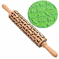 Cat Themed Rolling Pin By Gooj Wood Impressed Fun Designs - Perfect For Baking With Kids Dough & Fondant Cookies, Crusts, Pies & Pastry Clay Crafts