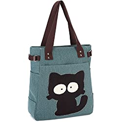 KAUKKO Women's Canvas Handbag with Zipper Ipad Shoulder Bag Cat Cute Traveling Bag School Bag Army Green