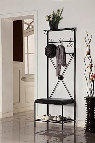 Freestanding Metal-framed Coat Hanger and Shoe Hall Tree in Black and Dark Brown Finish - Includes 6 Hooks and 1 Exterior Shelf