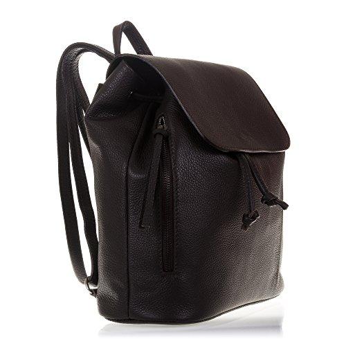 FIRENZE ARTEGIANI.Mochila de mujer casual piel auténtica.Mochila bolso mujer cuero genuino acabado dollaro. MADE IN ITALY. VERA PELLE ITALIANA. 30x31x12 cm. Color: MARRON OSCURO
