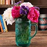 Decorative Glass Pitcher 1.5L Pioneer Woman Adeline Vintage Design Turquoise New